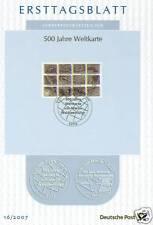 BRD 2007: Weltkarte 500 Jahre! Ersttagsblatt Nr. 2598 mit Bonner Sonderstempel!