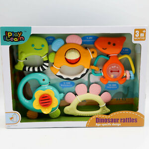 iPlay iLearn 5pcs Baby Rattles Teether Shaker Grab Spin Rattle Age Specific Dino