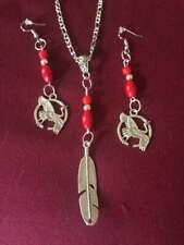 stainless chain/silver feather charm pendant crane charm red bead earring