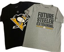 Lot of 2 Boy Shirts sz M Under Armour Future Steeler  Reebok Kessel NHL Penguins