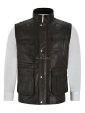 Mens Leather Vest Multi Pocket Leather Waistcoat Gilet Vest Fishing Hiking 8494