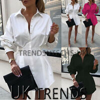 UK Womens Puff Sleeves Boyfriend Batwing Shirt Dress Buttons Through Ladies Top