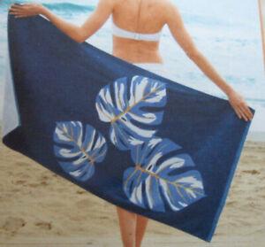BLUE WHITE GOLD TROPICAL LEAF 100% COTTON BEACH TOWEL 70 X 140 CM NEW