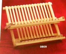 """PIASTRA & Dish Rack 2 livelli in legno di pino Piatto Asciugatura Rack 35cm/14"""" 809"""