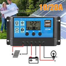 LCD Solar Panel Battery Regulator Charge Controller Dual USB 12v 24v 10A 20A UK