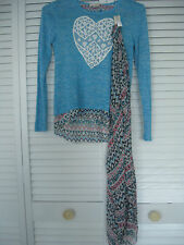 "GIRLS ""SELF ESTEEM"" BLUE SWEATER WITH SCARF, HEART DESIGN, SIZE LARGE"