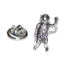 Silver Astronaut Spaceman Lapel Pin Badge With Euro Slot Display Card Space New