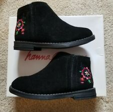 NIB HANNA ANDERSSON Lisa black Embroidered Flowers SUEDE Boots Girls Size 10