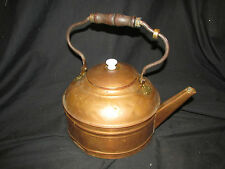 """Large 9.25"""" Vintage Copper Tea Kettle with Wood Handle & Lid Marked """"Rome"""""""