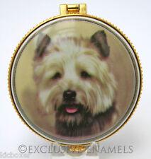 More details for alastor enamels cairn terrier dog round hinged china trinket box