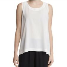 Eskandar Size 0 Cream Silk Crepe Shell Tunic Tank top blouse
