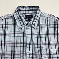 Sonoma Button Up Shirt Men's Large Short Sleeve Blue Plaid Casual 100% Cotton