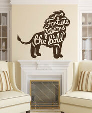 Motivation Wall Decals Quote Fortune Lion Art Vinyl Sticker Home Decor MS574