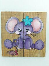 Tableau Peint Sur Bois-chambre enfants- Neuf