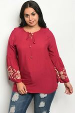 Women's Plus Size Burgundy Embroidered Boho Inspired Bell Sleeve Top 3XL NWT