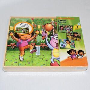 Dora The Explorer Diego Nickelodeon Three Wooden Puzzles with Wooden Storage Box