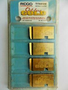 """RIDGID 67812 1"""" NPT THREADING DIES OIL-LESS GOLD FOR 1210 w/ 610A HEAD"""