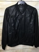 Buffalo David Bitton Mens Faux-Leather Bomber Jacket Black XXL NWOT