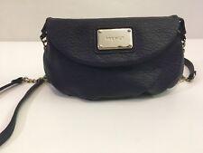"Nine West womens dark plum purple leather crossbody purse handbag 9""x5.5"""