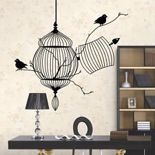 Black Bird Cage Tree Branch #K Creative modern Wall Sticker Decal Art Home Decor