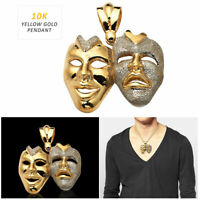 10K Yellow Gold Mens Thespian Actors Tragicomedy Faces Charm Pendant 6.20 G