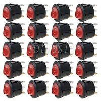 20* NEW Round Red 3 Pin SPST ON-OFF Rocker Switch With Neon Lamp