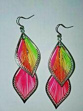 Silk Thread String Art Double Drop Earrings