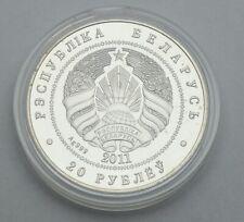 BELARUS 20 RUBLES 2011 HEDGEHOG 999 SILVER SWAROWSKI CRYSTAL COIN