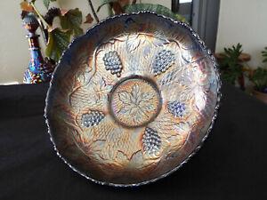 "Fenton ICS Concord Blue Carnival Glass Bowl 8"""