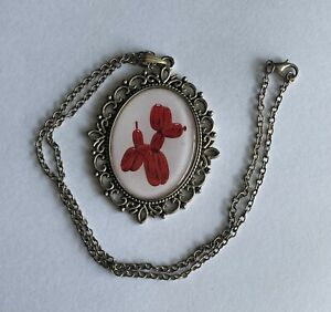"""Pink And White Enamel Poodle Dog Pendant With 18"""" Necklace"""