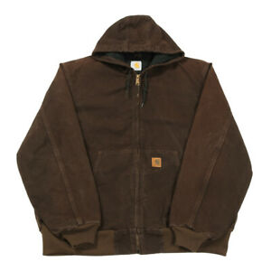 CARHARTT Thermal Lined Active Jacket | XL | Workwear Hooded Duck Canvas Coat
