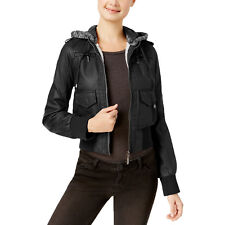 Jou Jou Juniors' Faux-Shearling Faux-Leather Jacket NWD (Black, XX-Large)