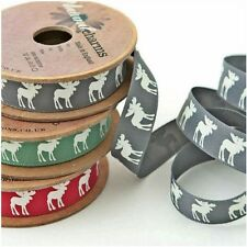 CHRISTMAS RIBBON PRINTED MOOSE ART # 14104 BY BERISFORDS 3 COLOURS 3 LENGTHS