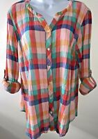 TALBOTS Crinkled Gauze Sunkissed Check Button Shirt/Blouse L Petite Tab Sleeves