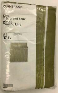 New IKEA KRANSRAMS King Duvet Cover w/2 pillowcases, White/Green