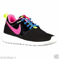 Nike Roshe One (GS) Trainers UK 4.5 Black / Pink / Volt / White 599729 011 New