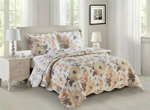 Oversize Deema Lightweight 3PC Mix of Natural Soft Colors Printed Bed Quilt Set