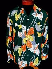 RARE COLLECTOR'S 1950'S KAHANAMOKU SILKY RAYON HAWAIIAN PRINT SHIRT SIZE MEDIUM