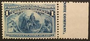 Scott #230, 1c Columbian, Never Hinged, Extremely Fine, post-office fresh