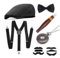 1 Set Mens 1920s 20s Gangster Set Hat Braces Tie Cigar Gatsby Costume Decor