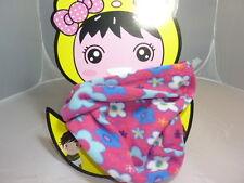 tour de cou polaire fleurs fond rose enfant,bonnet,snood,sport,vélo,froid,école