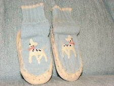 Vintage Crochet Leather Moccasin Blue Baby Boy Shoes Size 4 1/2 Doll Stitched