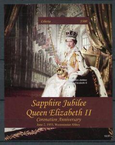 Liberia 2018 MNH Queen Elizabeth II Coronation 1v IMPF S/S Royalty Stamps