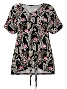 Black Jersey floral Top Plus Size 28, 30, 32, 34 V neck Smart print blouse  520