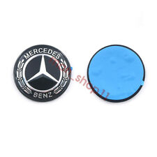 Black Border Paste Front Hood Emblem Flat Laurel Wreath Badge For Mercedes Benz