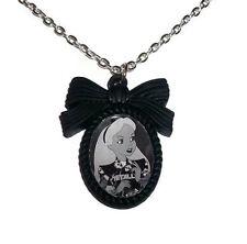 Alice in Wonderland Necklace, Alternative Disney Tattoo, Black Cameo, Kitsch