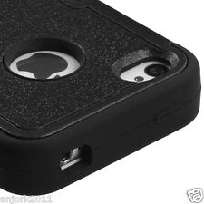 iPhone 4 4S Hybrid T Armor Snap-On Hard Case Skin Cover Black