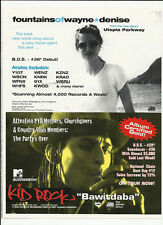FOUNTAINS OF WAYNE & KID ROCK Trade AD POSTER for Utopia & Devil Without CD 1999
