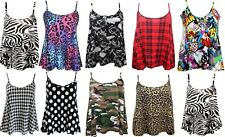 New Women's Printed Cami Camisole Summer Swing Strappy Top Plus Size UK 8-26