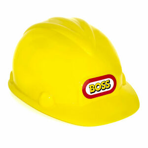 Yellow Boss Construction Hard Hat Builder Kids Play Fancy Dress